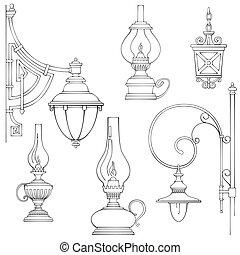 Vintage gas lamps kerosene lamps silhouette