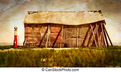 Vintage Gas Pump and Barn - Vintage gas pump and old falling...