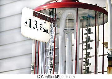 Vintage Gas Pump - An antique gas pump that says thirteen...
