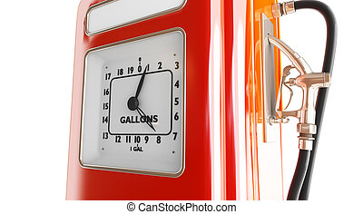 vintage gasoline fuel pump 3d Illustrations on a white...