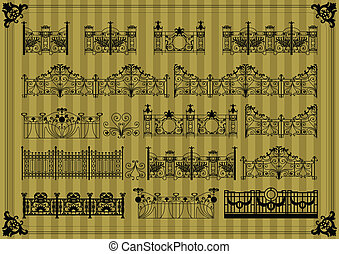 Vintage gate and street fence illustration collection...