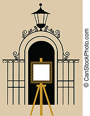 vintage gate to the park with drawing easel, vector...