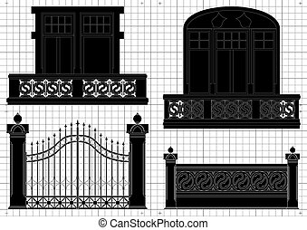 Vintage gates for house territory, yard