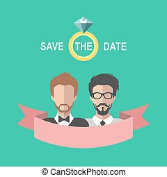 Vintage gay wedding romantic card with ribbon, ring, two grooms in flat style. Save the Date invitation in vector.
