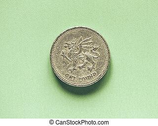 Vintage GBP Pound coin - 1 Pound - Vintage looking British ...