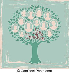 Vintage genealogy tree. Genealogical family tree vector illustration