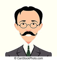 Vintage gentleman portrait. Design flat avatar for social...