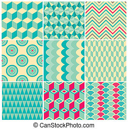 Vintage Geometric Background Pattern Set - Set of Vintage...