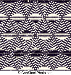 Vintage geometric seamless pattern, old vector repeat background with aged grunge dirty texture.