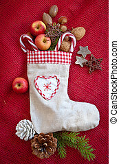 Vintage gift bag with nuts and apples for christmas