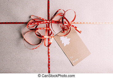 Vintage gift box with blank tag