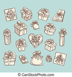 Vintage gift boxes collection on green