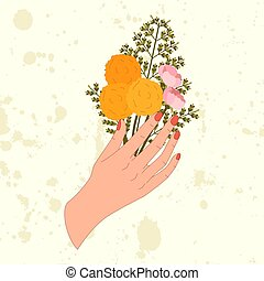 Vintage gift card with hand with flower for celebration design.