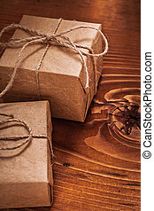 vintage giftboxes on old wooden board