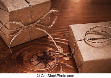 vintage gifts on old wooden boards