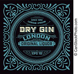Vintage gin label with floral elements in western style