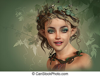 Vintage Girl, 3d CG - 3d computer graphics of a cute smiling...