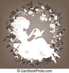 Vintage background with flowers, bird and girl reading book.