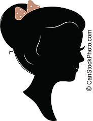 Vintage girl head silhouette isolated on white - Beautiful...