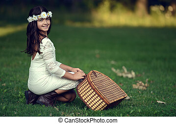 vintage girl ready for a picnic