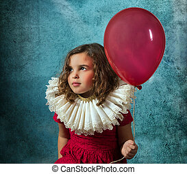 Vintage girl with balloon - Vintage girl posing with a...