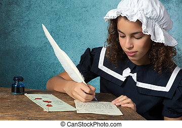 Vintage girl writing a letter