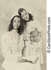Vintage girls in sepia