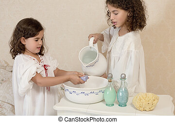 Vintage girls washing