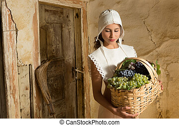 Vintage girls with fruit basket