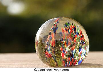 Vintage glass paper weight - A Vintage glass blown round...