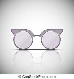 Vintage glasses with reflection, vector illustration design.