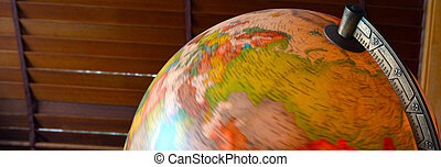 Vintage globe close up.