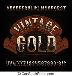 Vintage Gold alphabet font. Golden letters and numbers with diamond gemstone.