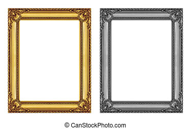 vintage gold and gray frame isolated on white background