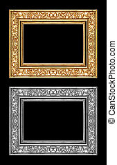 vintage gold and gray rose frame isolated on black background, w