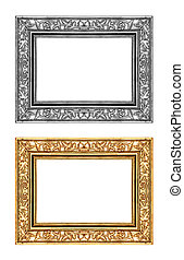 vintage gold and gray rose frame isolated on white background, w