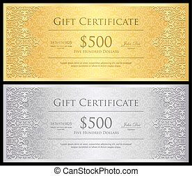 Vintage gold and silver gift certificate with lace decoration