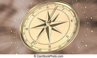 Vintage gold compass on blurred motion background. Retro ...
