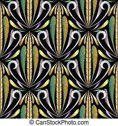 Vintage gold embroidery 3d seamless pattern.