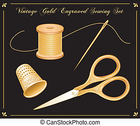 Vintage gold engraved sewing set: embroidery scissors, thimble, needle, spool of gold thread for needlework, sewing, tailoring, quilting, textile arts, do it yourself projects. Black background. EPS8 compatible.