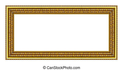 vintage gold frame isolated on white background, with clipping p