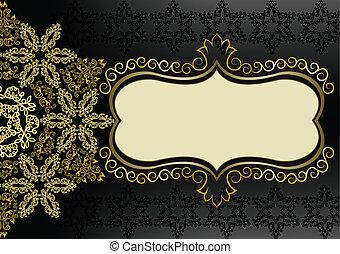Vintage gold frame on a black background