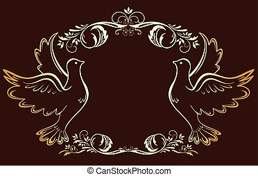 Vintage gold frame with doves