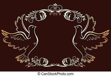 Vintage gold frame with doves