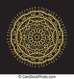 Vintage gold glitter mandala, vector circle frame on black.