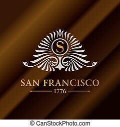 Vintage gold hipster label with lettering San Francisco. Logo template for your sign, poster, clothing, badge