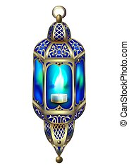 vintage gold lantern with a blue glow, historical decoration...