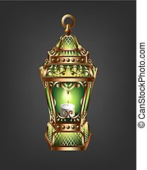 vintage gold lantern with a green glow, historical...