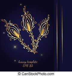 Vintage gold line luxury wedding background with peacock feather
