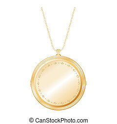 Vintage embossed gold round keepsake locket with detailed engraving, chain necklace, isolated on white background. EPS8 compatible.